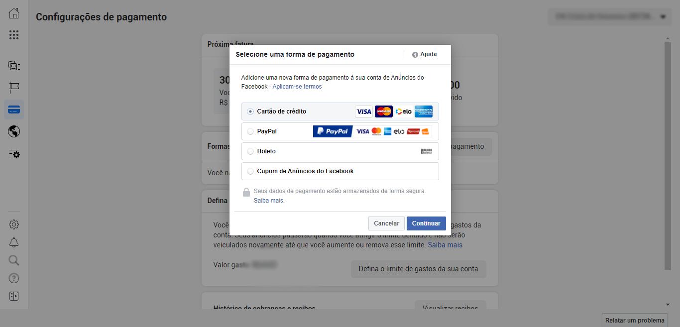 Trocar meio de pagamento no Facebook